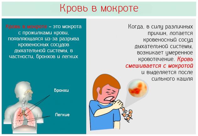 Выделение мокроты с кровью: причины отхаркивания алой слизи при сильном кашле