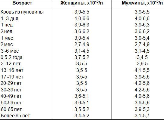 Эритроциты, норма у женщин по возрасту: таблица, причины отклонений, лечение